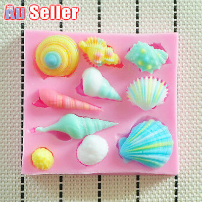 AU6.31 • Buy 3D Seashell Cookie Tray Baking Shell Fondant Craft Cake Silicone Chocolate Mould