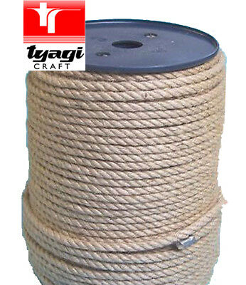 4MM TO 24MM Natural Jute Twisted Decking Garden Boating Garden DIY Braided ROPE • 22.99£