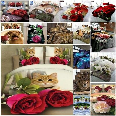 Duvet Cover Sets 3D Animal Flower Bedding Pillow Cases Single Double King Sizes • 21.99£
