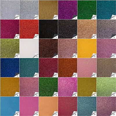Fine Sparkling Glitter Fabric In A4, A5 & A6 Sheets 50 Colours Hair Bows Crafts • 2.49£