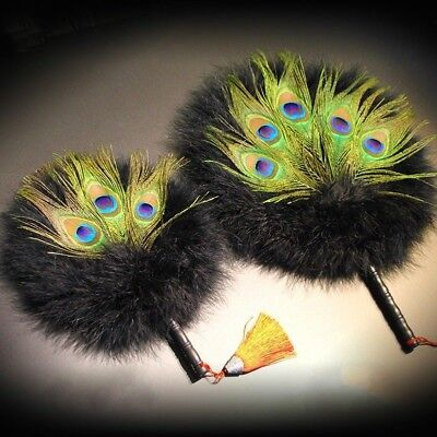 Peacock Marabou Feather Hand Fan Double Side Favor Vintage Pagan Wicca Gift New • 18.79£