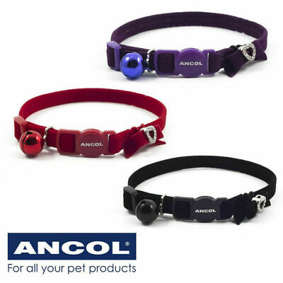 Cat Collar Ancol Velvet Jewel Diamante Heart Bow Safety Buckle Bell - 3 Colours • 3.99£
