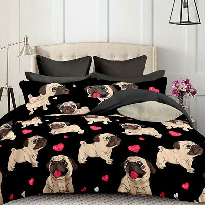 AU34.49 • Buy Puppy Pug Dog Quilt/Doona/Duvet Cover Set Single/Double/Queen/King Size Bed New