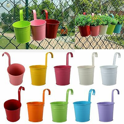 10x Garden Metal Flower Pots Wall Hanging Tin Basket Bucket Plant Herb Planter G • 8.79£