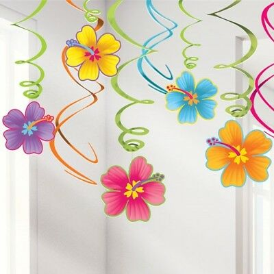 Hibiscus Luau Hanging Swirl Decorations Summer Party Hawaiian Tropical Swirls • 5.99£