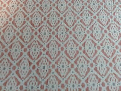 French Petite Ikat Linen PInk/Grey/Oatmeal 280cm/108  Wide Curtain Fabric  • 30£