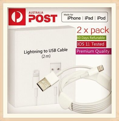 AU9.95 • Buy 2X 2m Lightning Charging Cable Cord For Genuine Apple IPhone 5 6 7 S 8 X IPad