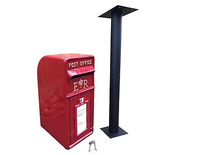 $317 • Buy ER Post Box Postbox Letter Box And Stand - Cast Iron Royal Mail Pillar Red Large