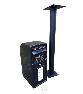 $317 • Buy ER Post Box Postbox Letter Box And Stand - Cast Iron Black Large