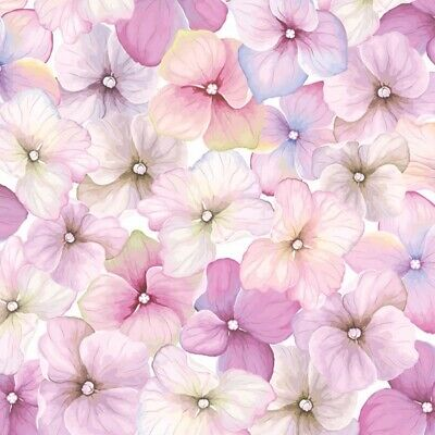 4 X Single Paper Napkins/3 Ply/Decoupage/Craft/Pink Hydrangea Pattern • 1.25£