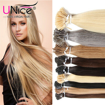 $49.38 • Buy 8A Keratin Glue Stick I-Tip Fusion Virgin Human Hair Extensions 100Strands 50g