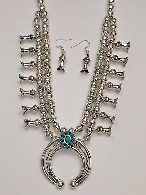$ CDN507.47 • Buy Sterling Silver Navajo Natural Turquoise Plain Beads Squash Blossom Necklace Set