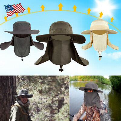 $22.99 • Buy Fishing Hiking Hat Outdoor Sport UV Sun Protection Neck Face Flap Cap Wide Brim