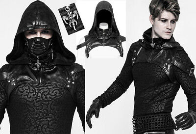 Gothic Punk Steampunk Bondage Leather Hooded Harness Jacket Straps PunkRave Men • 69.48£
