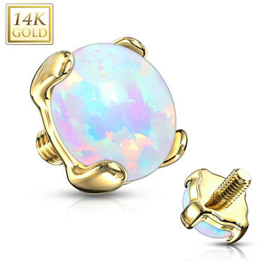 $17.99 • Buy 14K Solid Gold OPAL STONE Dermal Anchor TOP Studs Ring Internal Piercing Jewelry