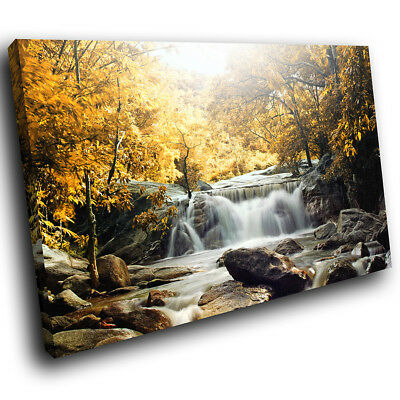 SC438 Yellow Forest Waterfall Cool Nature Canvas Wall Art Large Picture Prints • 19.99£