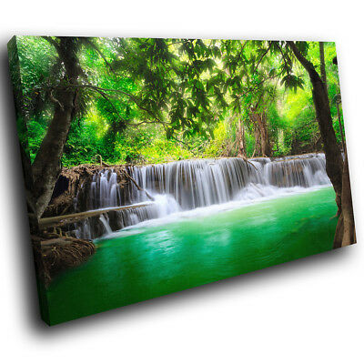 SC443 Green Waterfall Forest Nature Cool Landscape Canvas Wall Art Picture Print • 19.99£