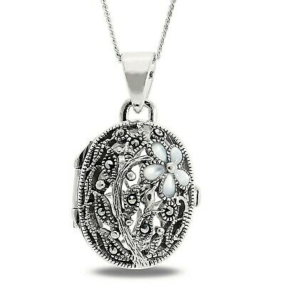 £23.50 • Buy Sterling Silver Large Oval Heavy Victorian Antique Floral Locket 18  Chain Gift