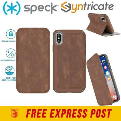 AU69.95 • Buy Speck Presidio Card Folio Leather Rugged  Case For Iphone Xs/x - Brown/grey