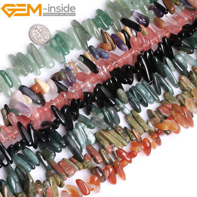 £4.40 • Buy Natural Gemstones Freeform Stick Point Spike Beads For Jewellery Making 15  UK