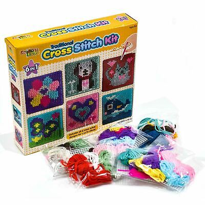 £6.59 • Buy Kids 6 In 1 Traditional Cross Stitch Kit 6 Childrens Designs Tapestry Sewing Set