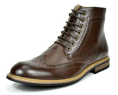 $33.24 • Buy Bruno Marc Mens Lace Up Motorcycle Leather Chukka Boots Oxford Dress Ankle Boots