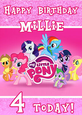 MY LITTLE PONY Personalised Birthday Card Add Your Own Name & Age MLP • 2.76£