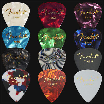 $ CDN7.41 • Buy 12 X Thin Fender Celluloid Guitar Picks / Plectrums - 1 Of Each Colour
