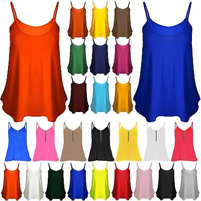 New Womens Camisole Thin Strap Ladies Basic Neon Stretchy Flared Swing Vest Top • 1.75£