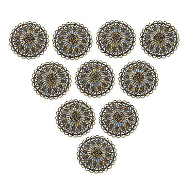 £4.77 • Buy 10 Pcs Brass 36 Mm Round Filigree Flower Painted Pendant Charms Connectors