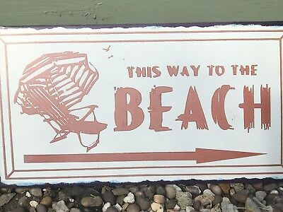 This Way To The Beach Metal Sign - Seaside - Vintage Style - Retro • 6.95£