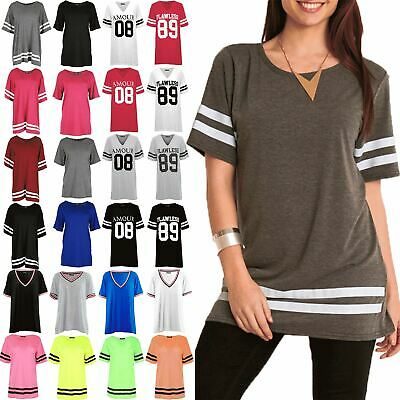 £4.99 • Buy Womens Ladies Oversized Cap Sleeve Sports Stripe Baseball Pullover T Shirts Top