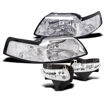 $100.95 • Buy 1999-2004 Ford Mustang Replacement Crystal Style Headlights +bumper Fog Lamp New