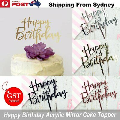 AU5.99 • Buy Happy Birthday Cake Topper Acrylic Party Decorations Mirror Gold Rose Gold Pink
