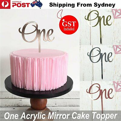 AU5.80 • Buy One Cake Topper Silver Rose Glod Acrylic Mirror Baby Party Birthday Event Decor