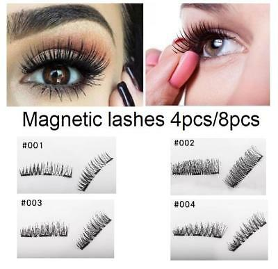 AU5.75 • Buy 4pcs/8pcs DoubleTriple Magnetic Eyelashes  Lash Extension 3D Natural Thick Long