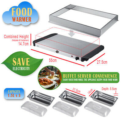Buffet Server Adjustable Temperature 200w  Hot Plate Tray S/s Steel Food Warmer  • 22.69£