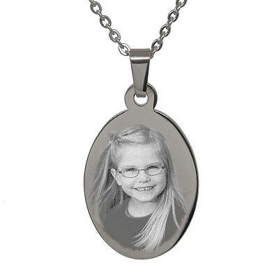 Personalised Photo/Text Engraved Oval Pendant Necklace. Stainless Steel • 13.99£