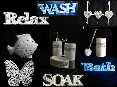 Sparkle Diamante White Bathroom Accessory Set Candle Hook Wooden Word Ornament • 8.90£