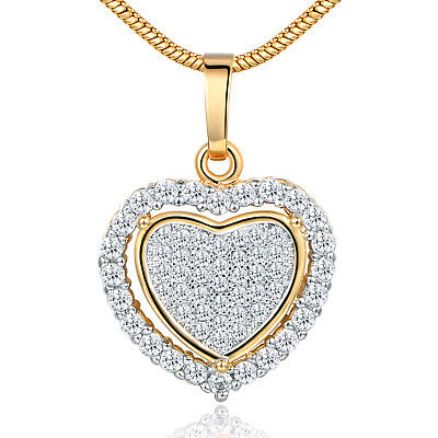 Love Heart Pave Crystal Zirconia Yellow Gold Filled Women Pendant Necklace Chain • 5.99$