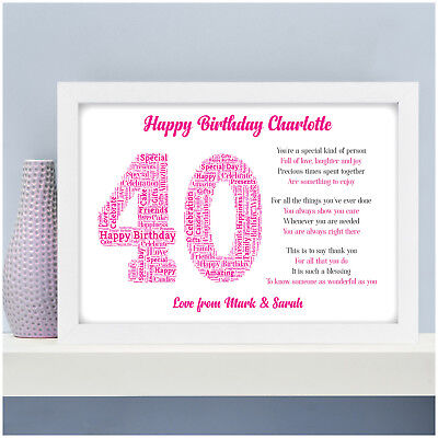 £13.95 • Buy Personalised 40th 50th 60th 70th Birthday Gifts For Her Women Mum Wife Poem Gift
