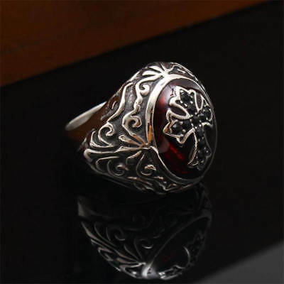 $19.99 • Buy Round Bishop ONYX Cross Christian Cleric Stainless Steel Silver S.7-15 Men Ring
