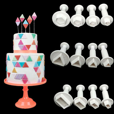 Hexagon Plastic Cake Mold Chocolate Cookie Cutter Fondant Decoration Tools 4 Pcs • 3£