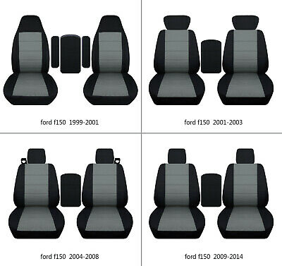 $107.99 • Buy Fits Ford F150 99-2014 Car Seat Covers Black-steel Gray Fr Buket Seats+lid Cover