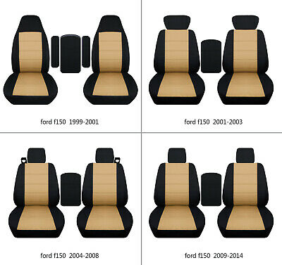 $107.99 • Buy Fits Ford F150 99-14 Cotton Car Seat Covers Black-tan Fr Bucket Seats+lid Cover
