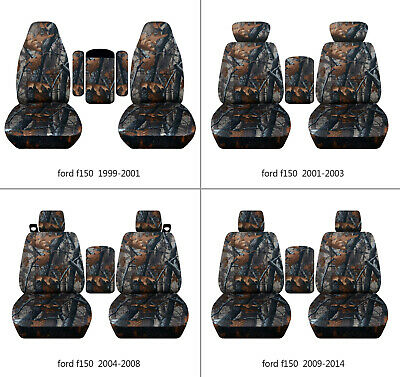 $107.99 • Buy Fits Ford F150 99-14 Car Seat Covers  Camo Gray Tree Fr Bucket Seats+lid Cover