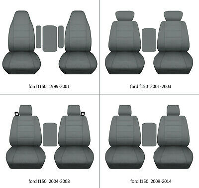 $107.99 • Buy Fits Ford F150 1999-2014 Car Seat Covers Steel Gray Fr Bucket Seats+lid Cover