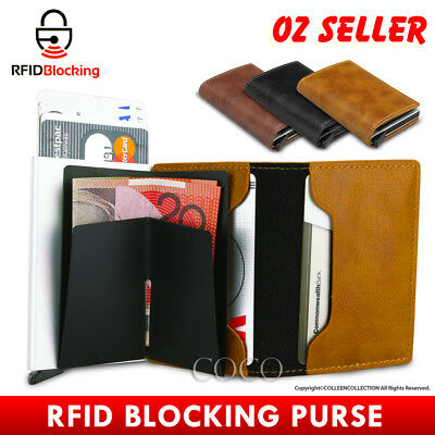 AU11.85 • Buy RFID Blocking Leather Credit Card Holder Case Men's Money Cash Wallet Clip Purse