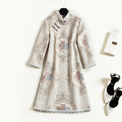 $ CDN93.74 • Buy Women Chinese QiPao Cheongsam Embroidery Floral  Long Sleeve Dress Party Banquet