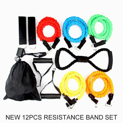 AU25.89 • Buy New 12pcs Resistance Fitness Exercise Bands Set Tube Home Door Yoga Loop Gym Abs